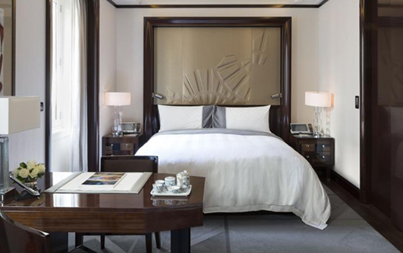 Bed at The Peninsula Paris