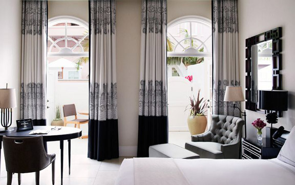The bedroom of the Deluxe Suite with a Patio at the Belair Hotel, Los Angeles, USA
