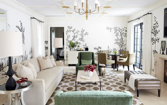 The interior of the living room which can be found in the Charlton Suite at the Bel Air Hotel, Los Angeles, USA