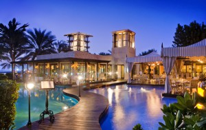 The One and Only Royal Mirage, Dubai, dining and entertainment at night time, by the pool.