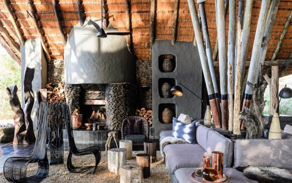 The living room space of the beautiful Boulders Lodge, Singita Lodges, South Africa.