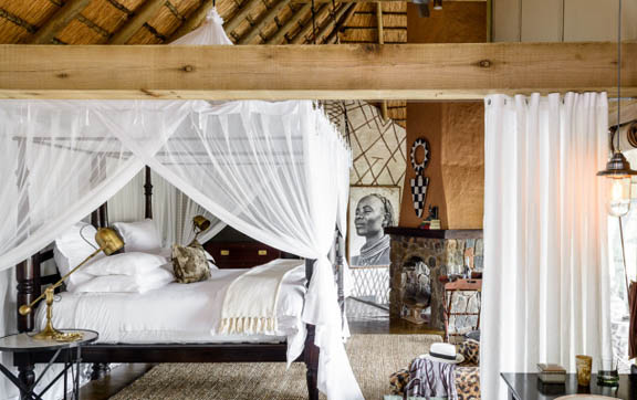 The bedroom of the breathtaking Ebony Lodge, Singita Lodges, South Africa.