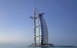 The famous 7 star hotel Burj Al Arab's exterior.