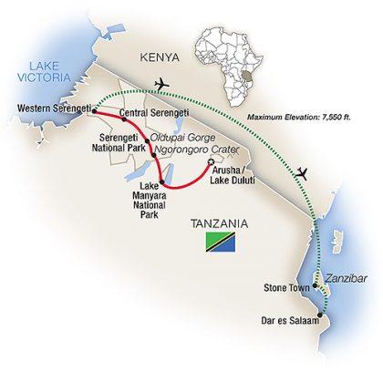 tanzania-safar-10-days-with-tauck-itinerary-map
