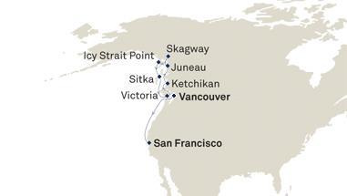 Cunard_AlaskatoSanFran_ItineraryMap