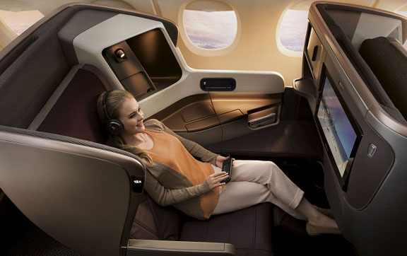 Lie back and relax in Singapore Airlines Business Class