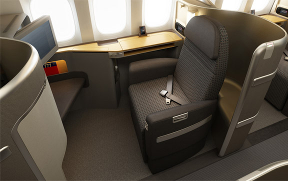 The First Class cabin features an updated and enhanced version of American's Flagship Suite seats.