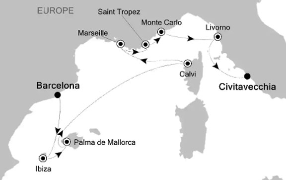 Barcelona to Rome on Silver Muse