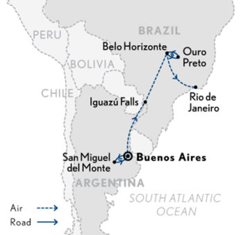 Buenos Aires to Rio, 12 Days with Abercrombie & Kent Tour Map