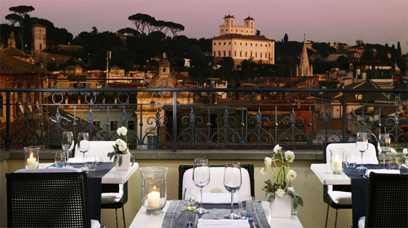 The First Luxury Art Hotel Rome Italy Dining Restaurant View