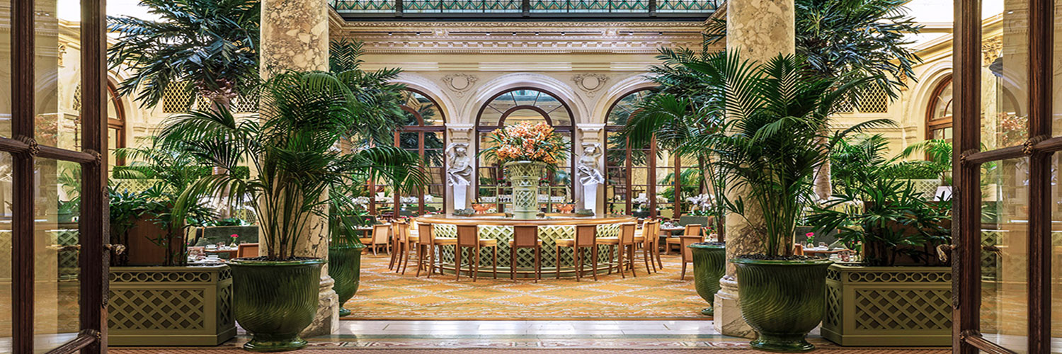 The Palm Court restaurants dining area at The Plaza Hotel, New York, USA