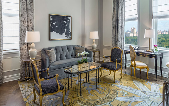 The living room area in the Legacy Suite, namely Ellington at The Plaza Hotel, New York, USA