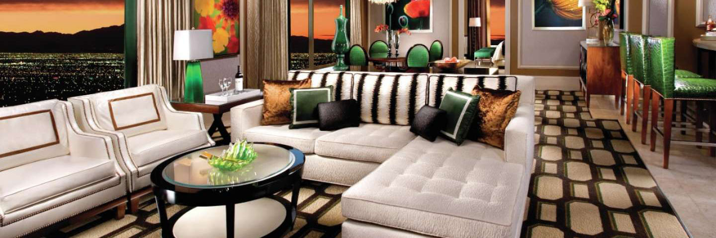 The living area of the Penthouse Suite at Bellagio, Las Vegas