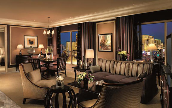 Living room inside a suite at the Bellagio Las Vegas.