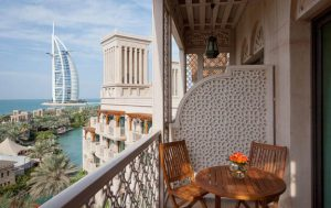 An image of the view of the sister resort of Madinat Jumierah Al Qasr, Dubai Burj Al Arab from the balcony of one of their suites.