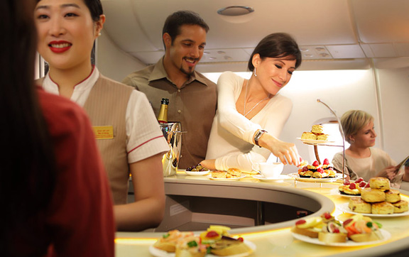 Emirates Business Class onboard lounge and bar
