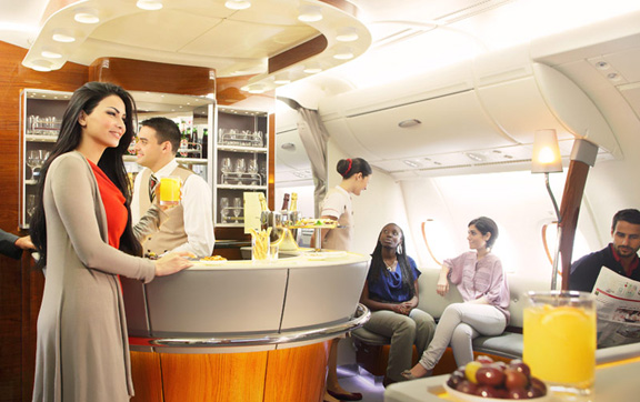 Emirates Business Class onboard bar and lounge