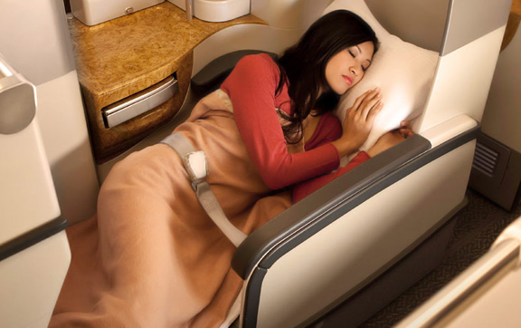 Emirates Business Class bed
