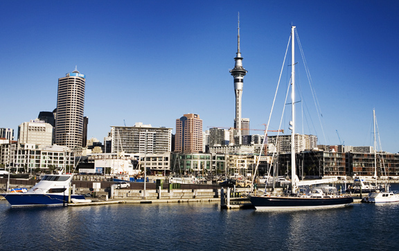 The Westhaven Bay harbor, sailboats and the Skytower on the back. Auckland skyline. New Zealand