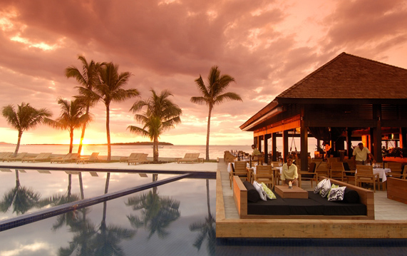 Hilton Fiji Beach Resort and Spa, pool, dining, sunset, luxury travel