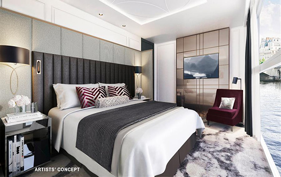 Master Bedroom in the Crystal Suite onboard Crystal Bach