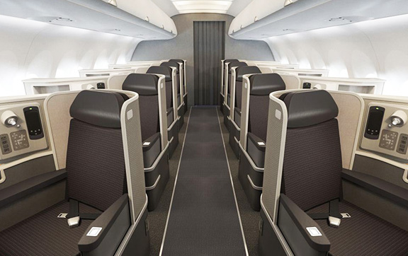 The First Class cabin will be outfitted with 10 fully lie-flat seats in a 1-1 configuration.