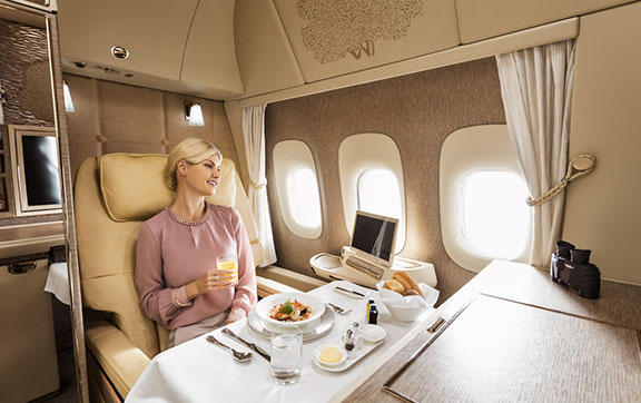 Dining in Emirates New First Class Suite on the Boeing 777