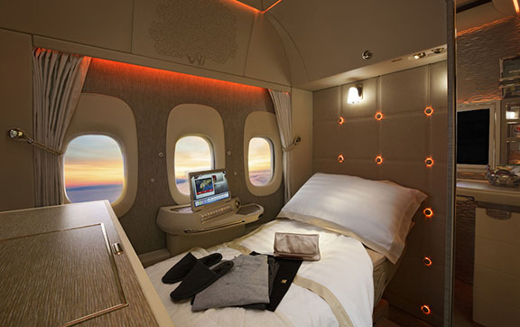 Fully Flat Bed in Emirates New First Class on the Boeing 777