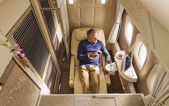 Zero Gravity Position in the New Emirates First Class onboard the Boeing 777