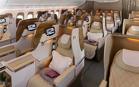 Business Class Cabin on Emirates New Boeing 777